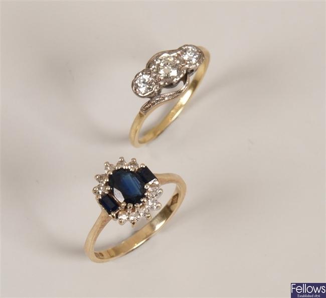 18ct gold illusion set three stone diamond