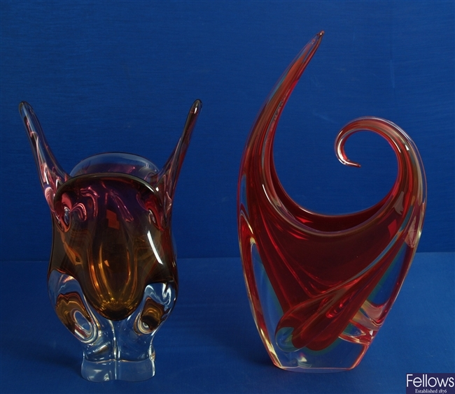 A 1960's/ 70's red and clear glass freeform vase