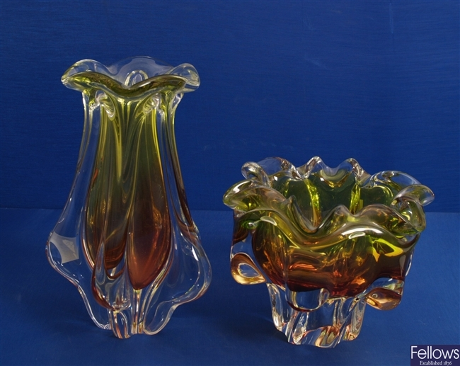A 1960's/70's clear, peach and lime green moulded