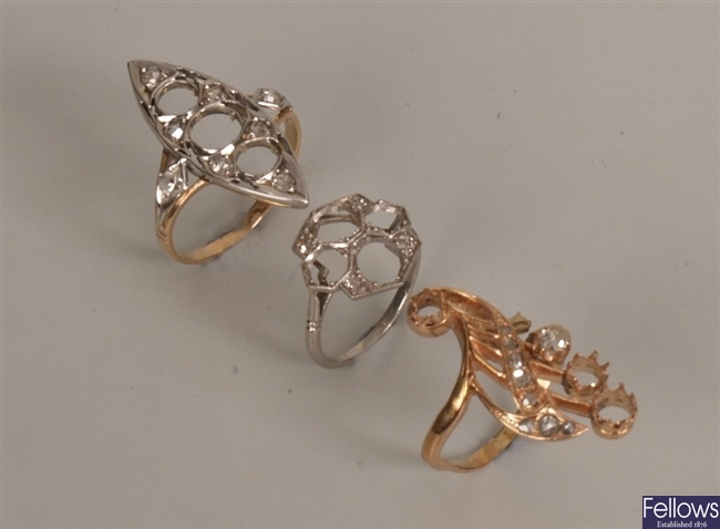 Three diamond set rings, to include a marquise