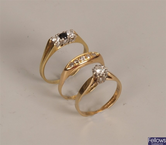 Three diamond set rings, to include an 18ct gold