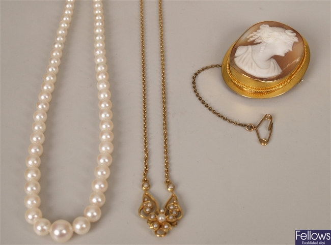 Three items to include a 15ct gold seed pearl