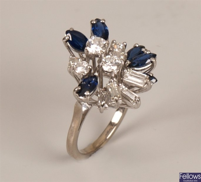 Sapphire and diamond set fancy cluster ring, with