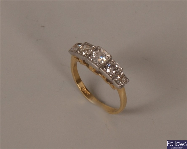 18ct gold five stone old european cut diamond