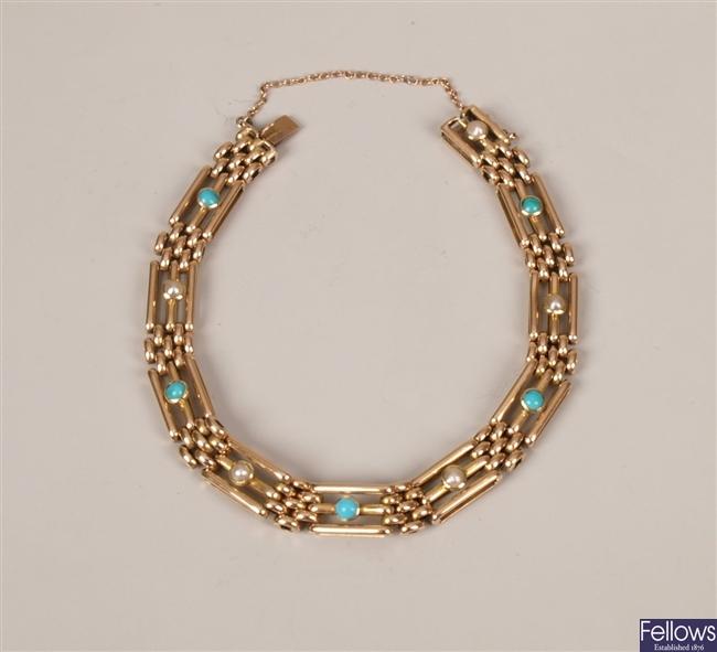 15ct gold 3 bar gate bracelet with alternate