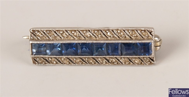 Driegel and co sapphire and diamond brooch with a