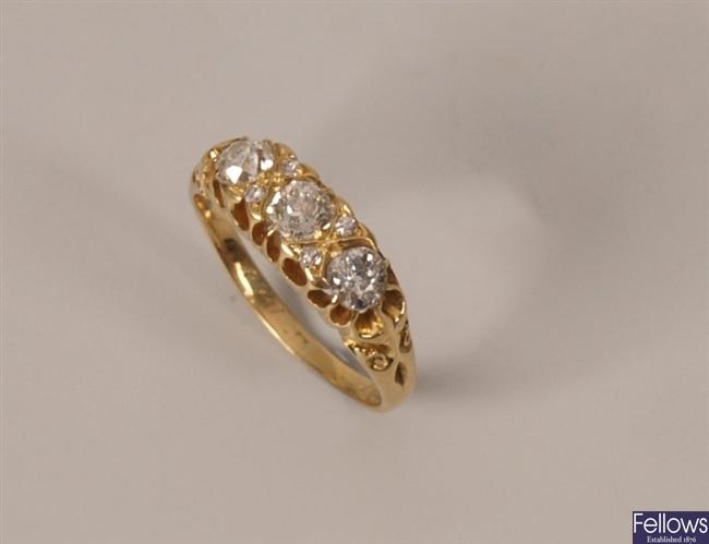 Three stone diamond ring with three old european