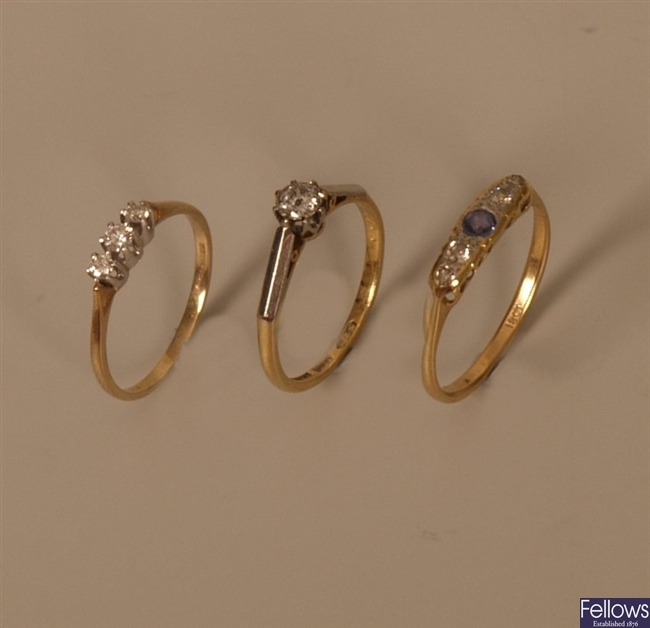 Three diamond rings, to include a 9ct gold three