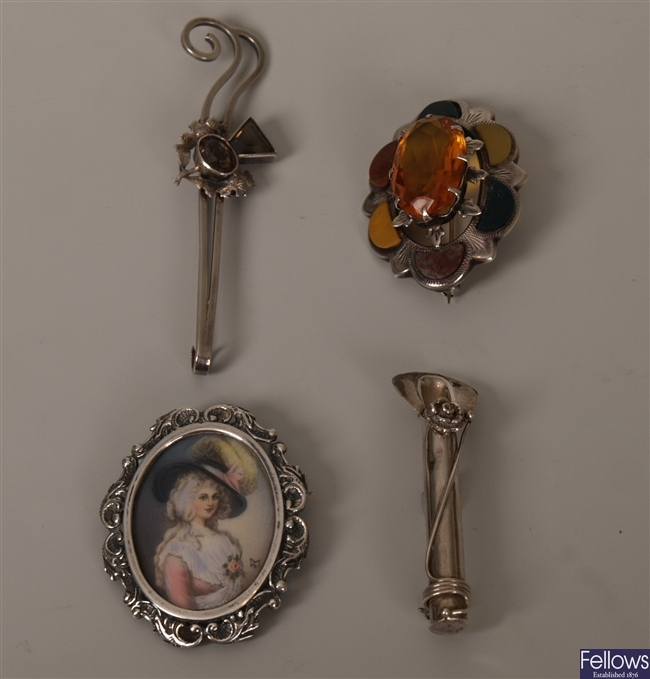 Three brooches, to include a Scottish silver