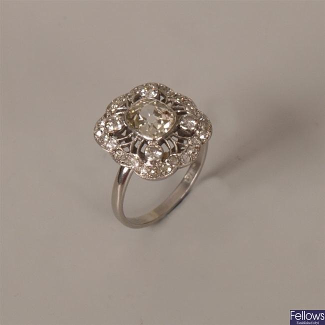 Art Nouveau Platinum diamond set cluster ring,