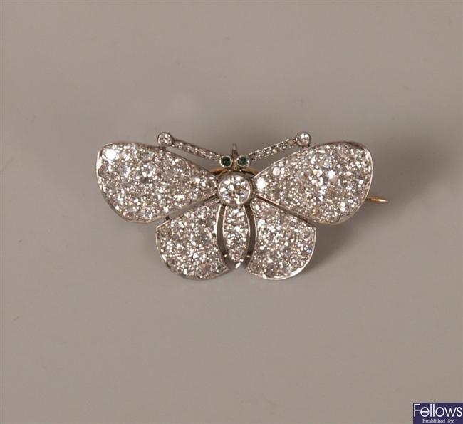 Victorian diamond set en tremblant butterfly