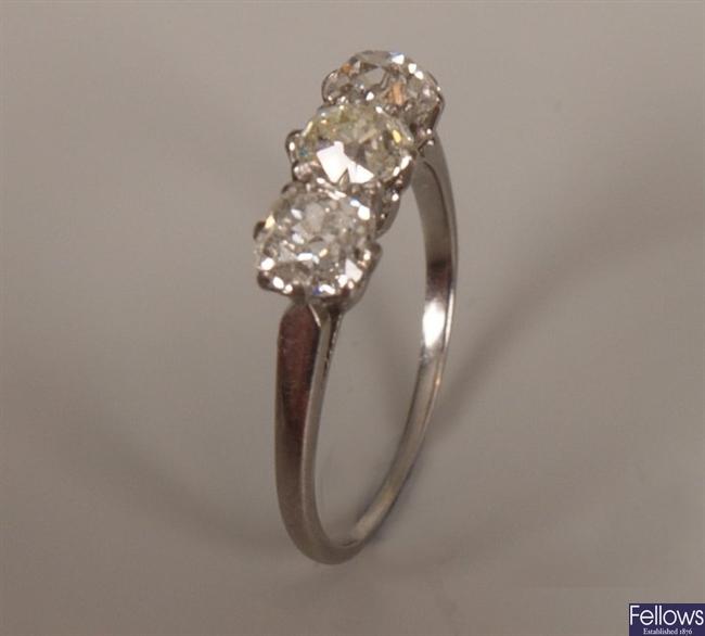 Three stone old european cut diamond ring of some