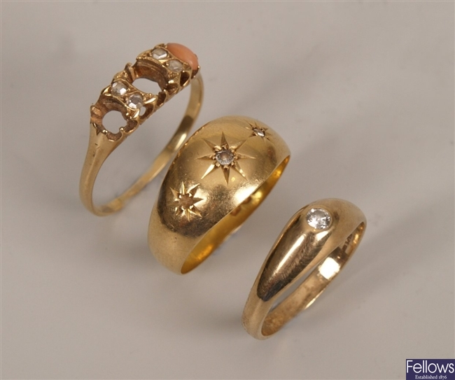 Three rings to include an Edwardian three stone