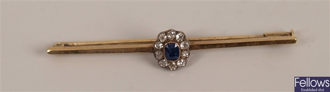 15ct gold sapphire and diamond bar brooch with a