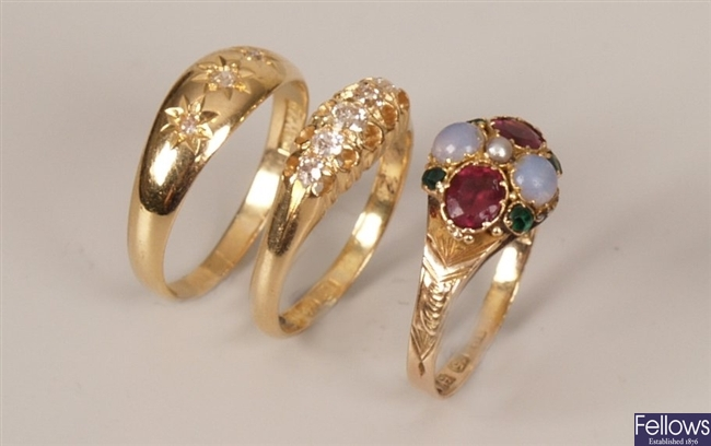 Three rings to include a Victorian five stone