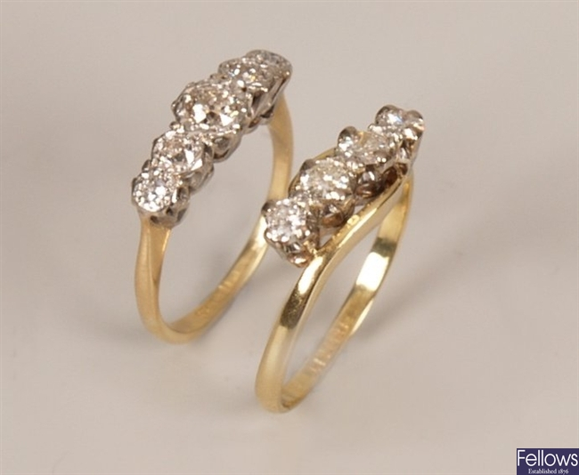 Two 18ct gold and platinum mounted rings to