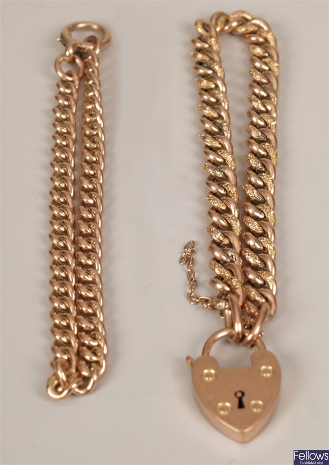 Two bracelets to include a 9ct rose gold solid