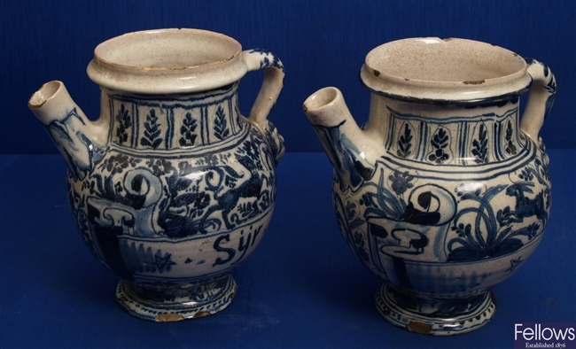 A pair of 18th Century Italian maiolica blue and