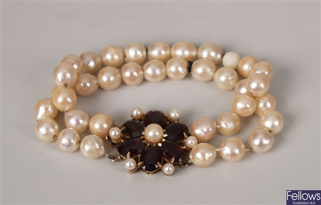 Two row 7 - 8mm baroque cultured pearl bracelet