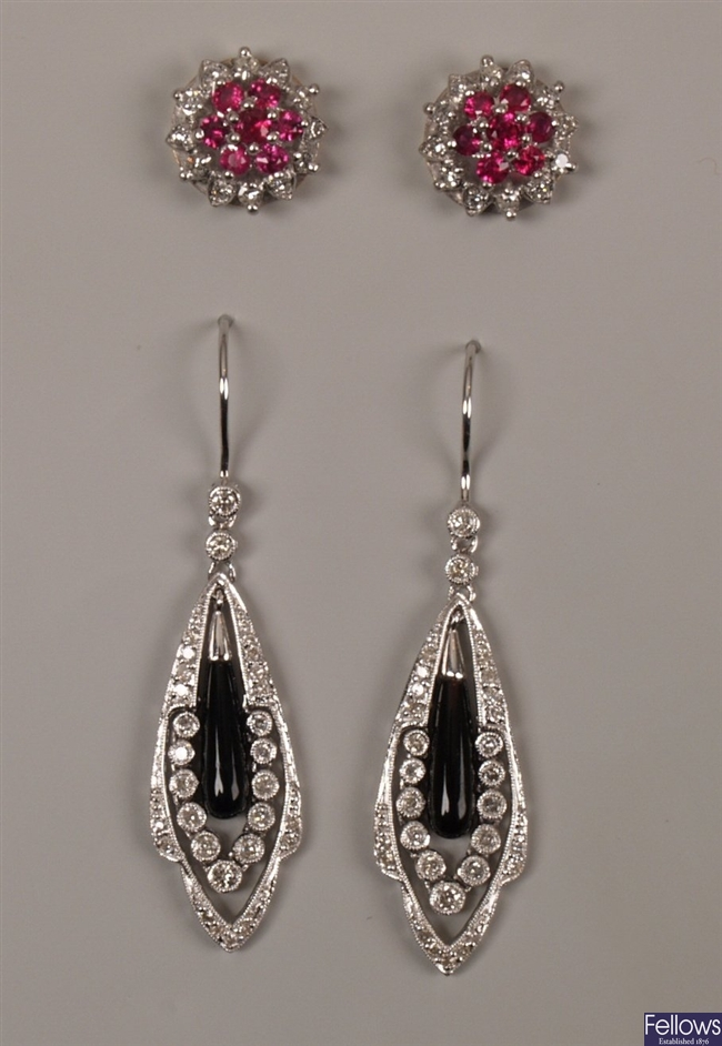 Two pairs of earrings to include a pair of 18ct
