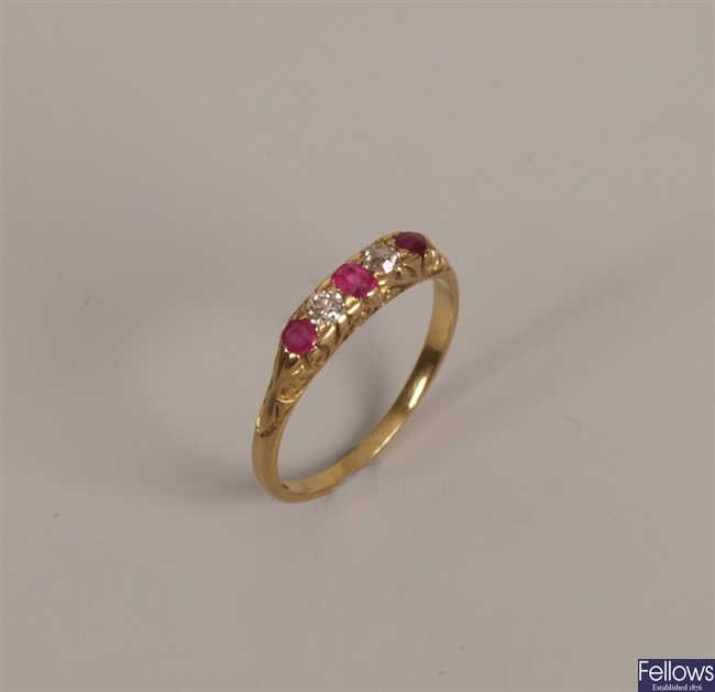 9ct gold five stone ruby and diamond ring with
