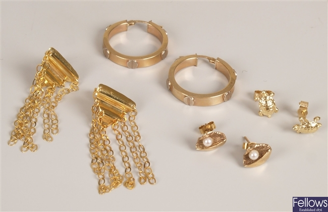 Four pairs of 9ct gold earrings, to include a