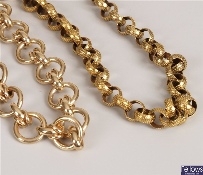 Two 9ct gold chains, to include a textured