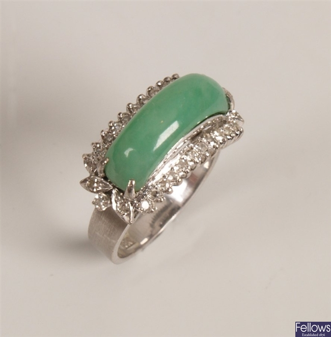 18k white gold jade and diamond cluster ring with