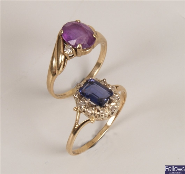 Two rings, to include a 9ct gold amethyst and