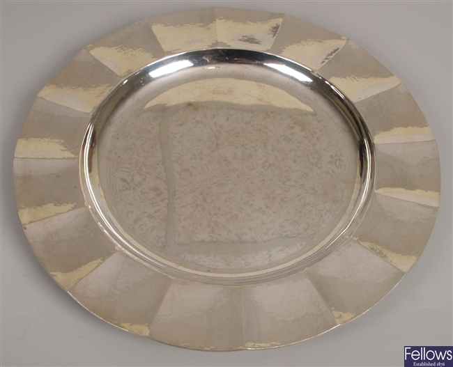 ASPEY - silver dish with scalloped rim, London