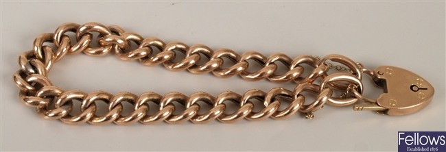 9ct gold curb link bracelet with padlock, weight