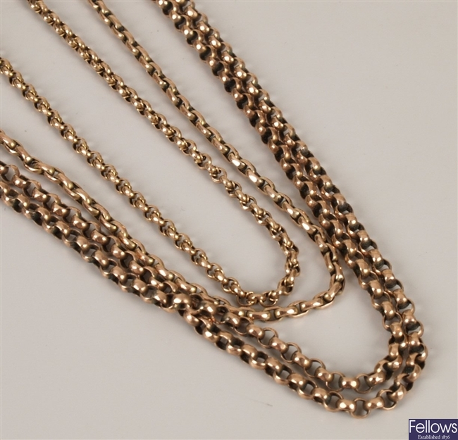 9ct gold belcher link guard chain together with