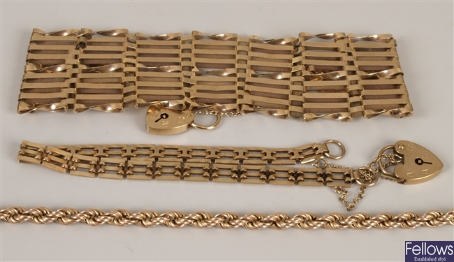 Three 9ct gold bracelets to include a wide nine