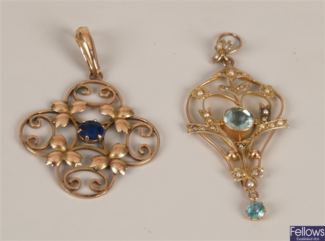 Two Edwardian pendants to include a 9ct gold seed