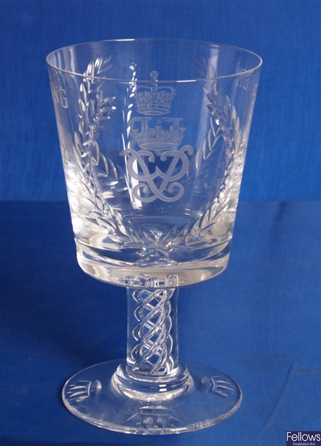 A Stuart Crystal goblet commemorating the Silver