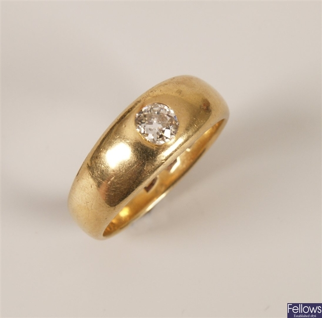 Victorian 18ct gold gentleman's ring set a single