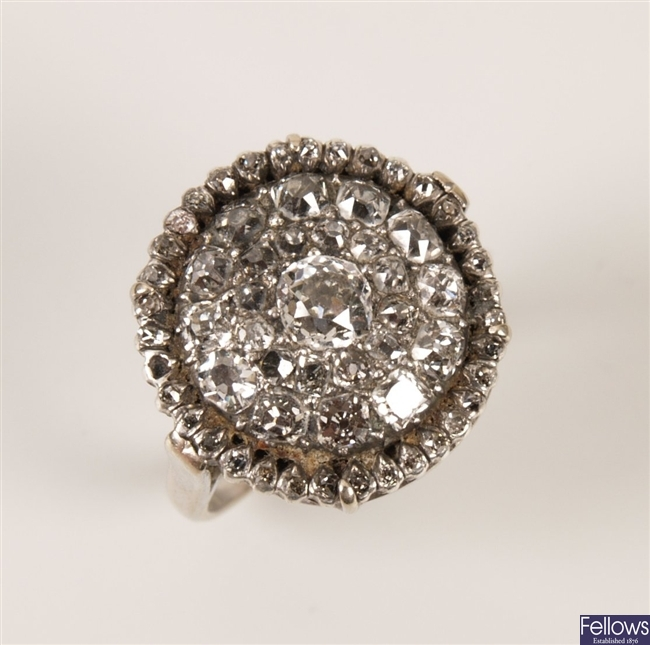 Georgian diamond cluster ring with central