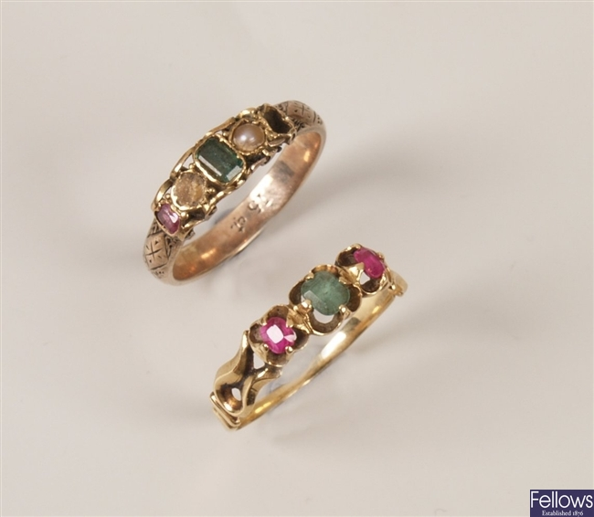 Two rings to include a 15ct gold emerald, pearl