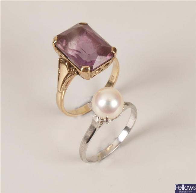 Two rings to include a 14ct white gold pearl ring