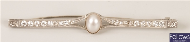 Cultured pearl and diamond bar brooch with a
