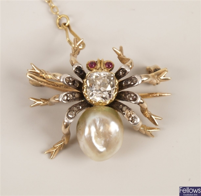 Early twentieth century diamond, pearl and ruby