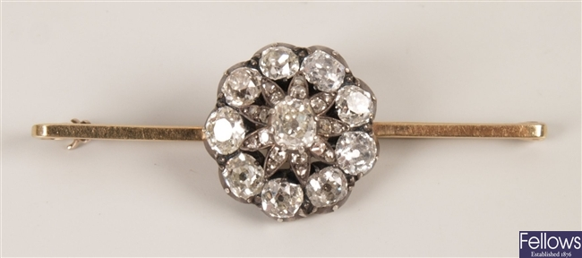 Victorian diamond cluster,  with a central raised