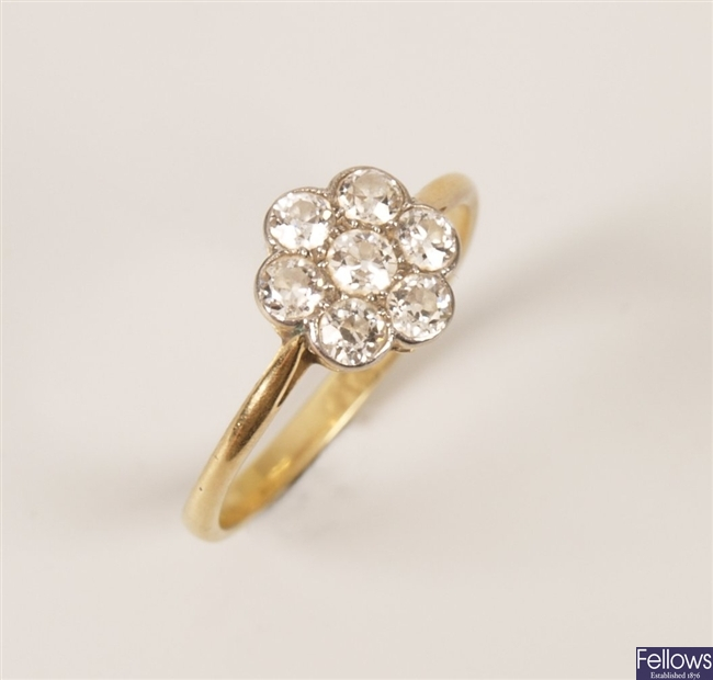 Diamond cluster ring, set seven old european cut