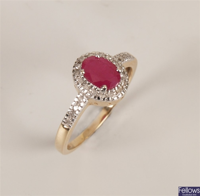9ct gold mounted oval ruby and diamond cluster