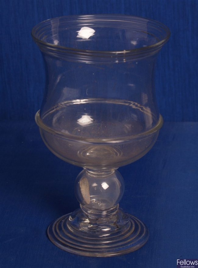 An eighteenth Century ale glass, the shaped bowl