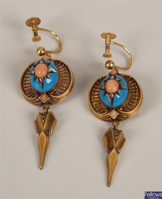 Victorian pendant earrings with a central oval
