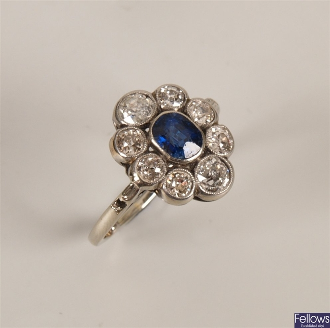 Early 20th century oval sapphire and diamond