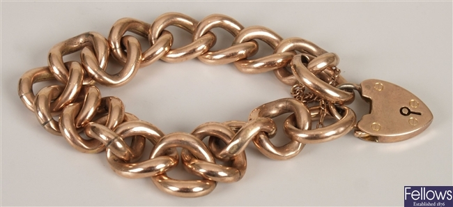 9ct rose gold hollow curb link bracelet and