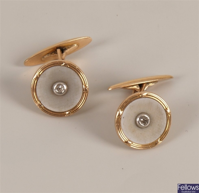 Pair of 14ct gold diamond swivel cufflinks in
