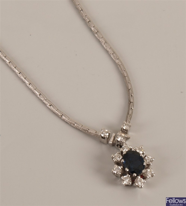 18ct white gold sapphire and diamond necklet with